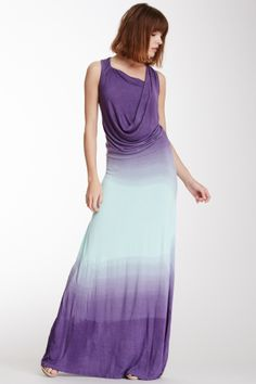Dip-Dye Asymmetrical Drape Maxi Dress