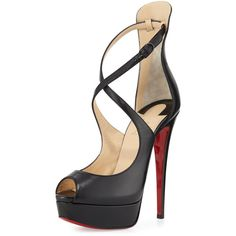 Christian Louboutin Marlenalta Leather 150mm Red Sole Pump (£790) ❤ liked on Polyvore featuring shoes, pumps, black, shoes sandals classic, black leather pumps, black ankle strap pumps, black leather shoes, peep toe platform pumps and black pumps