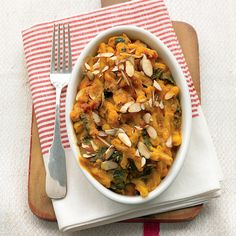 This hearty dish is packed with vitamin-rich kale and pumpkin, and you won't miss the cheese you usually find in baked pastas.