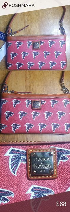"Dooney Bourke Atlanta Falcons Leather Mini Purse Dooney Bourke Atlanta Falcons Red and Brown Leather Mini Purse with Atlanta Falcons logo all throughout the front and back. Gold Dooney & Burke logo at top front, gold zipper and brown leather trim/strap. Red lining on the inside with two standalone pockets on each side.  Size: 7.5""W, 4.25""H,  4"" Strap drop.  Condition is new with tags and will be received just as pictured. Dooney & Bourke Bags Mini Bags"