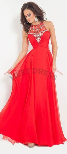 Charming Red High Neck Prom Dresses,A-Line Prom Dresses,Long Beading Party Dresses,Chiffon Formal Dresses,Cheap Graduation Dresses