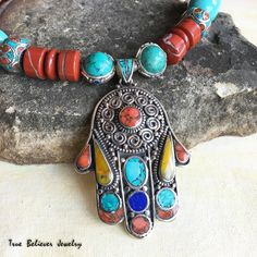 Nepalese Hamsa Necklace Turquoise and by TrueBelieverJewelry Hamsa Necklace, Pendant Necklace, Antique Jewelry, Beaded Jewelry, Hand Of Fatima, Hamsa Hand, Silver Pearls, Handcrafted Jewelry, Turquoise Bracelet