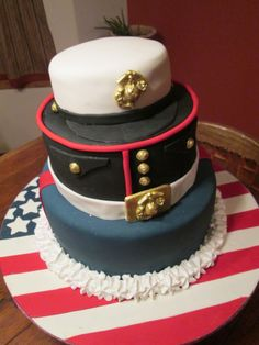 Marine's Uniform Groom's Cake - I made this grooms cake for a friend's son. He just finished training for the Marines. It was the first time I have ever covered a cake board. It didn't look as good as I had hoped but my friend was pleased with it. Purple Wedding Cakes, Beautiful Wedding Cakes, Gorgeous Cakes, Amazing Cakes, Fancy Cakes, Cute Cakes, Call Of Duty Cakes, Military Cake, Brides Cake