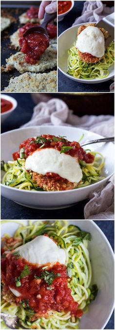Lighter Baked Chicken Parmesan with Zucchini Noodles, your family will adore this lightened up twist on a classic. Only 387 calories a serving! Healthy comfort food is the best comfort food!| joyfulhealthyeats.com #zoodles