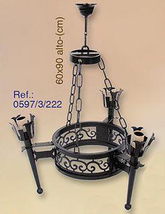 LAMPARA DE 3 LUCES DE FORJA MODELO GALICIA 0597/3