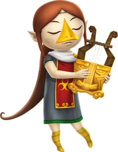 Medli Rito Harp Artwork from the official artwork for #Hyrule Warriors Legends #Zelda http://www.zelda-temple.net/games/spin-off-zelda-games-on-consoles