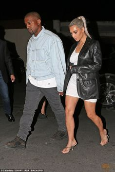 Lovers in LA: Kim and Kanye kept their hands locked together as they enjoyed a night out t. Kim Kardashian And Kanye, Kardashian Style, Kardashian Jenner, Kardashian Family, Kardashian Fashion, Kris Jenner, Cute Comfy Outfits, Cool Outfits, Fashion Outfits