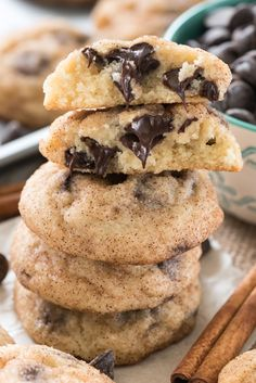 Chocolate Chip Snickerdoodles - this easy snickerdoodle recipe is FILLED with chocolate chips. If you haven't tried chocolate chips in snickerdoodle cookies you're missing out!