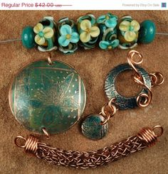 On Sale Etched Copper Metal Flowers Etched Metal by carolynsbeads, $33.60