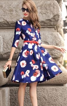 Floral Buttons Flare Dress