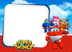 Super Wings Invitation - Making Our Party Birthday Book, Boy Birthday Parties, Birthday Party Invitations, Birthday Cards, Wings Card, Candy Labels, Free Printable Invitations, Party Printables, Kids Party Themes