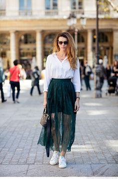 white shirt, emerald long skirt, sneakers. street @roressclothes closet ideas #women fashion outfit #clothing style apparel