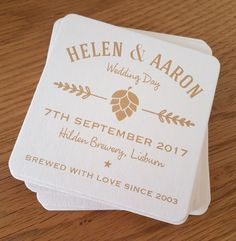Any design, on the day beer mat coasters, bar coasters, wedding favours. Beer Wedding, Wedding Favours, Wedding Day, Bar Coasters, Wedding Coasters, Beer Mats, What To Make, Facebook Sign Up, Brewery