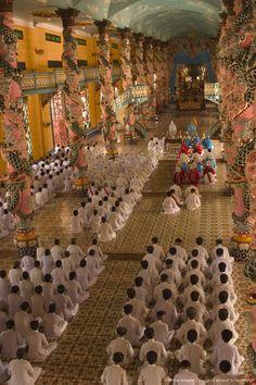Photographic Print: Cao Dai Temple, Tay Ninh, North of Ho Chi Minh City (Saigon), South Vietnam, Southeast Asia by Christian Kober : Vietnam Voyage, Vietnam Travel, Asia Travel, South Vietnam, Vietnam War, Saigon Vietnam, Hanoi, Ao Dai, Buddhist Pagoda