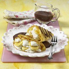 Bananen-Crêpes mit Schokosoße
