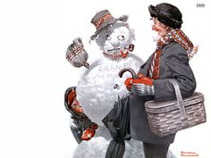 snowman norman rockwell painting