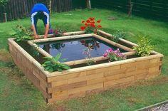 Cool idea!!!!  Raised bed with a pond created by Wood BlocX a company in the UK.  Great idea and a water feature would be nice so that the water would not become stagnate.  Moving water keeps the mosquitoes away.  I do think anyone could probably make this on their own.
