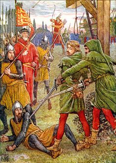 """'Robin Hood' illustrated by Walter Crane. This is so funny; Little John's just like, """"'Sup, Robin. Let me just cut you loose with this sword while I impale this soldier on my other sword. Big guy with a spear? Nah, I'm not worried about him."""""""