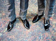 Well-Groomed Groom: Velvet & Grids - two guys mix and match separates to create cool suits. #wedding #fashion