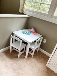 This little white play table and chairs is the best! My toddlers love to play at it and it has held up so well! #playroom #girlnursery #girlyplayroom #boho #kidstable Kids Play Table, Girl Nurseries, Wanting To Be Alone, Toy Bins, Cube Shelves, Dress Up Outfits, Table And Chair Sets, Little White, Baby Girl Fashion