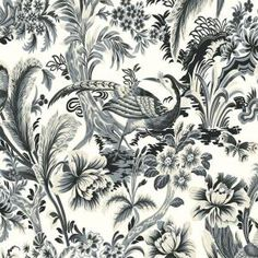 The Wallpaper Company 8 in. x 10 in. Charcoal Bird'S Paradise Wallpaper Sample-WC1283363S at The Home Depot