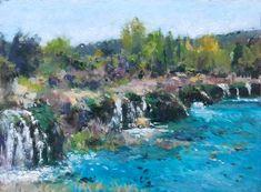 Paisaje de las Lagunas de Ruidera. Ciudad Real. 27x20 cms Oleo sobre tabla. Rubén de Luis River, Outdoor, Waterfalls, Paint, Impressionism, Watercolor Painting, Cities, Scenery, Artists