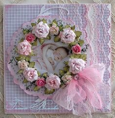 This card is so attractive!  I just love her handmade flowers and the colors!!