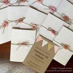 Romantic rustic bunting birthday invitation #paperpineapple #sweetstationerysolutions #handmadeinvitations