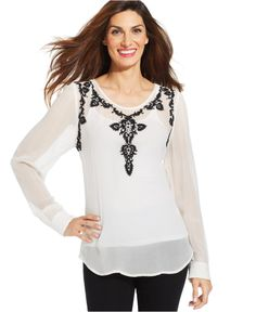 Sheer White Black Embroidered Beaded Top - Tops - Women - Macy's #Karen_Kane #Fashion #Macys