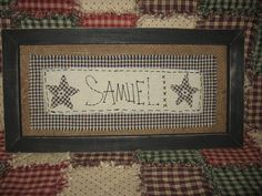 Personalized Hand Stitched Primitive Framed by LittleFoxFashions, $60.00