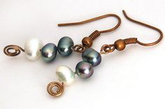 Black and White Freshwater Pearl Earrings. Stacked on Copper, Bronze or Silver Pin. Wire Wrapped. Simple Elegant #jewelry #earrings $16