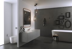 Industrial Appeal - Dorf Industrie #Dorf #DorfStyle #design #industrial #trends #bathroom #Caroma #inspiration #bath #floatingvanity #pendantlights #urban #interiordesign #copper #steel #concrete