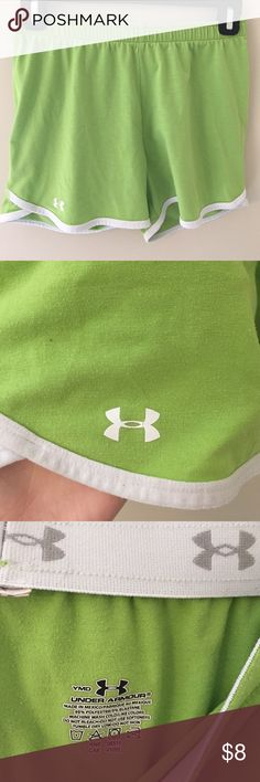 Cotton Under Armour athletic shorts Comfy under armour athletic shorts. Bright green, elastic waist band and super soft! Marked youth medium but fits as a women's XS or S Under Armour Shorts