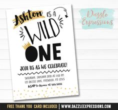 Printable Black and Gold Wild One Birthday Invitation | Boys 1st Birthday | First Party Idea | Where the Wild Things Are Inspired Invitation | King | FREE thank you card included | Cupcake Toppers | Favor Tag | Banner | Drink and Food Labels | Signs | Matching Party Package Decor Available!
