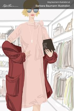 Digital drawing of a fashionable woman in pink and red spring summer outfit in front of a dressing room with a separate layer to define the basic proportions of the human female body. the sketch on done on a sketchbook paper with rough and simple ink outlines to find creative ideas for the illustration #fashionillustration the lady is wearing a dress in different poses of the figure drawing of the woman to underline shoe brand features #drawing tips and step by step guidelines, graphite… Paul Green, Illustrator, Illustration Mode, Portrait, Dressing Room, Figure Drawing, Fashion Sketches, Female Bodies, Lady