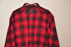 Mens Weatherproof Chamois Red Plaid Shirt Button Front Long Sleeve SZ XL Cotton #Weatherproof #ButtonFront