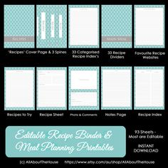 EDITABLE Recipe Binder Printables - Meal Planning - Recipe Sheet - Recipe Card - Weekly Meal Planner - Month - Recipe Divider - Grocery List... https://www.etsy.com/au/listing/159131346/editable-recipe-binder-printables-meal?ref=shop_home_active