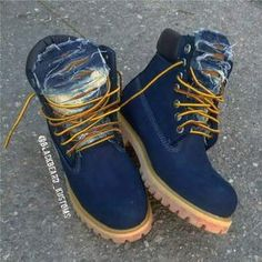Timberland Boots, an American Icon ~ Fashion & Style Custom Timberland Boots, Timberland Boots Outfit, Timberland Waterproof Boots, Tims Boots, Shoe Boots, Ankle Boots, Grunge Style, Soft Grunge, Blue Shoes