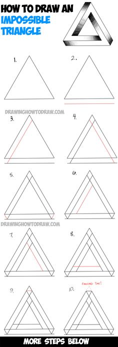 How to Draw an Impossible Triangle – Easy Step by Step Drawing Tutorial Today I will show you how to draw something really cool. I will show you how to draw an impossible triangle.the perspective on…More Illusion Drawings, 3d Drawings, Drawing Sketches, Sketching, Drawing Lips, Drawing Art, Easy Simple Drawings, Triangle Optical Illusion, Simple Sketches