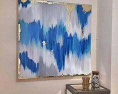 Artículos similares a Vendido!! Acrílicos abstractos arte gran lienzo pintura gris, plata, oro Ikat Ombre brillo con cristal y resina capa 48