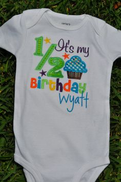 Custom Half Birthday Onsie by creativechaoscarrie on Etsy Happy Half Birthday, 2nd Birthday Parties, Birthday Celebration, Baby Boy Outfits, Kids Outfits, Baby Kids Clothes, Kid Styles, Baby Photos, Baby Love