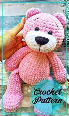 Crochet Teddy Bear Pattern Free, Teddy Bear Patterns Free, Knitted Teddy Bear, Crochet Amigurumi Free Patterns, Crochet Animal Patterns, Free Crochet Patterns For Beginners, Easy Crochet Animals, Crochet Animal Amigurumi, Textiles