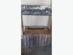 made from reclaimed wood pallets, in good shape and works nicely. Used Victoria, Wood Pallets, Lemonade, Furniture, Pallet Wood, Home Furnishings, Wooden Pallets, Root Beer, Crates