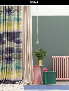 Bluebellgray's Morar fabric features washes of colour in a moody palette uplifted by zesty chartreuse inspired by the ever-changing coastal landscape of Scotland. Beautiful Blinds, Wallpaper, Home Decor, Beautiful Curtains, Inspiration, Blinds, Chartreuse, Furnishings, Bluebellgray