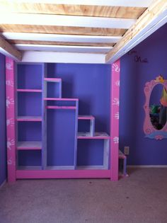 Steps for loft bed with storage Girls Bunk Beds, Kid Beds, Girls Bedroom, Loft Beds, Awesome Bedrooms, Cute Bedroom Ideas, Bed Ideas, Single Bunk Bed, Montessori Bed