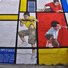 LIVING WALLS, ATLANTA 2014 - This piece was made as part of #Living #Walls 2014, an urban art conference in #Atlanta, #Georgia, USA.  The wall belonged to a daycare centre and showed children climbing through a Mondrian inspired composition. For a site specific work, I was really pleased with how it came together.  #Mondrian #DeStijl #StreetArt © Ernest Zacharevic