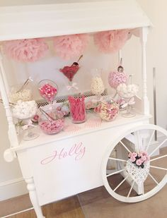 Christening day candy cart for Holly in pale pink and white More: www.coniefoxdress.com, #longpromdress