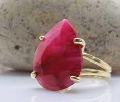 20% OFF - ruby ring,gemstone ring,July birthstone ring,gold ring,teardrop ring,pear ring,faceted ring,statement ring