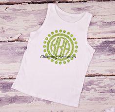Polka Dot Circle Glitter Monogram Tank Top - YOU CHOOSE from 15 glitter colors-