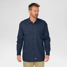 Dickies Men's Big & Tall Original Fit Long Sleeve Twill Work Shirt- Dark Navy L Tall